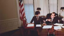 X-Men: Days of Future Past promotional image of Bolivar Trask with Richard Nixon